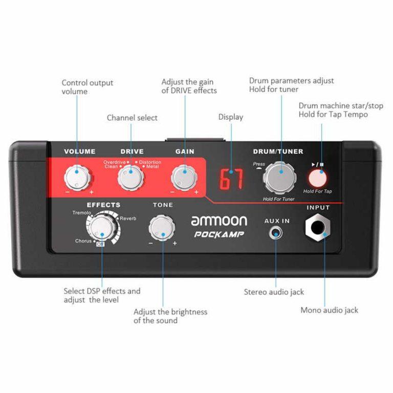 Controles Ammoon amplificador portátil de guitarra