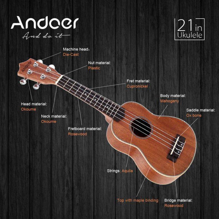 Partes del ukelele Andoer 21in