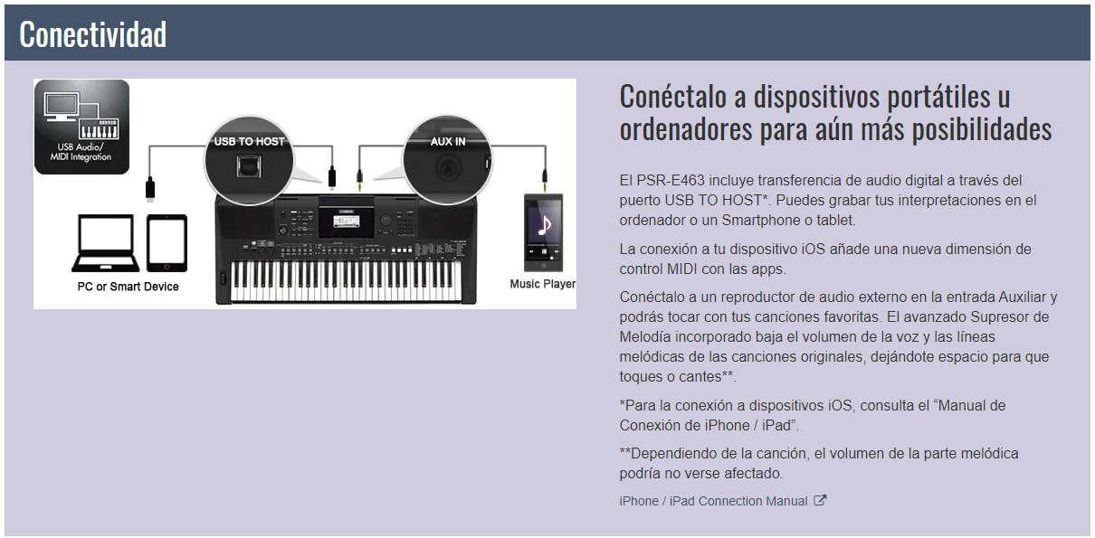 Conectividad del teclado Yamaha PSR-E463